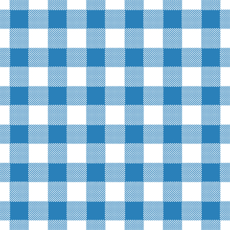 Seamless abstract illustration of blue chechkered (gingham) table cloth, vintage or retro styled traditional pattern, also for napkin Illustration