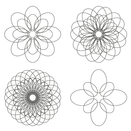 sacral: Set of 4 isolated spirograph flower ornaments, black line elements