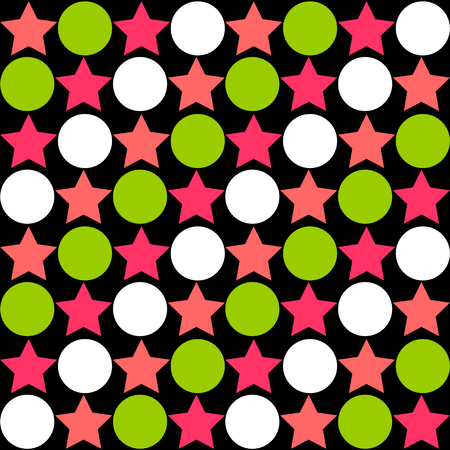 Seamless abstract pattern - star alternating circle in bright colors of green, pink and white on black background