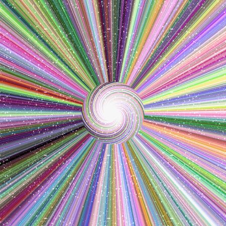 Crazy colorful background with ray beams from center to edge of picture, repeated stripes around the center, and swirl in the middle, with tiny white dots in foreground