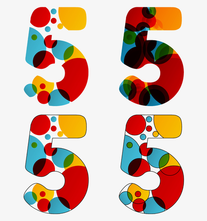 Set of 4 isolated abstract lava lamp styled number five - 5, first simple, second multiplied, third with outlined number five, fourth with outlined every circle and the whole five