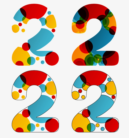 Set of 4 isolated abstract lava lamp styled number two - 2, first simple, second multiplied, third with outlined number two, fourth with outlined every circle and the whole two Illustration
