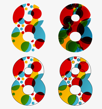 Set of 4 isolated abstract lava lamp styled number eight - 8, first simple, second multiplied, third with outlined number eight, fourth with outlined every circle and the whole eight