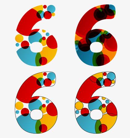 Set van 4 geïsoleerde abstracte lavalamp gestileerde nummer zes - 6, eerste eenvoudige, tweede vermenigvuldigde, derde met geschetste nummer zes, vierde met geschetst elke cirkel en de hele zes Stock Illustratie