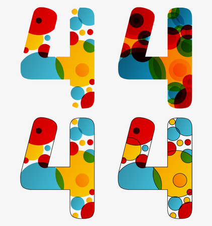 Set of 4 isolated abstract lava lamp styled number four - 4. Illustration