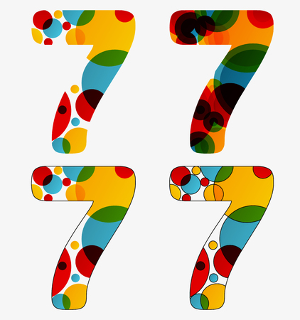 Set of 4 isolated abstract lava lamp styled number seven - 7.