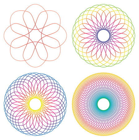 Collection of 4 rainbow colored line spirograph abstract elements - 4 different geometric ornaments flower like, symmetry, isolated on white Illustration
