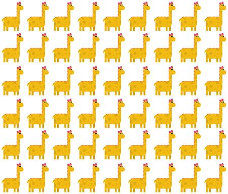 Seamless pattern made by yellow female dinosaurs - brontosaurus (thunder lizard) on white background