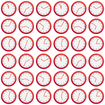 Seamless pattern made of red clock showing different time, isolated on white, interesting time texture