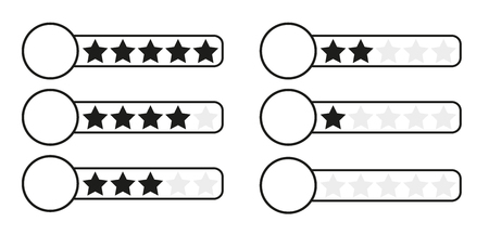 critique: Black and white (monochrome) star rating bars - for five, four, three, two, one and none stars with white circle where you can put your chosen graphic element, isolated on white