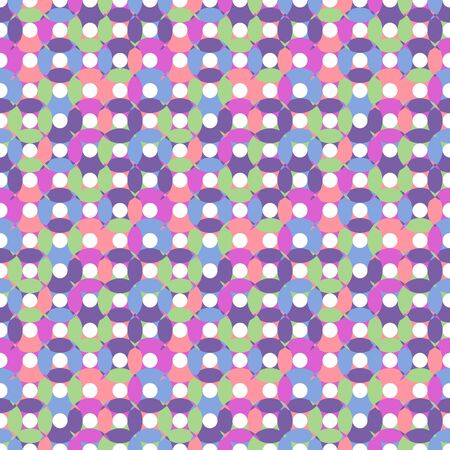 divide: Unusual seamless pattern made of round shapes in different pastel colors - green, pink, purple, blue with white centers, oval and round shapes,overlay CD illusiion Illustration