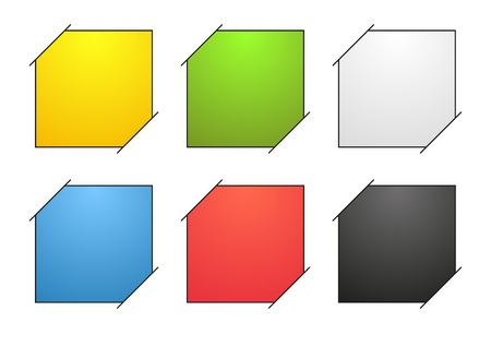 cut paper: Set of 6 isolated colorful blank banners with black outline, or note with corners stuck in paper (white background), each note is filled with colorful gradient Illustration