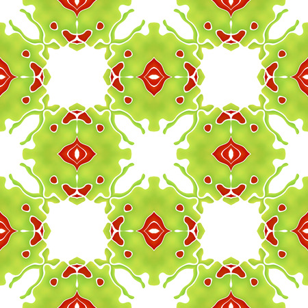 Seamless organic colorful abstract mosaic green pattern, floral unusual pattern, also tiles making strange mystical green creature with red eye Stock Photo