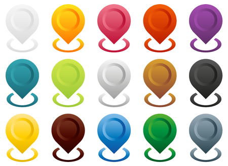 ring road: Big set of colorful map pointers, end (start) of route or other special point, 15 color modification, isolated on white with colorful circle round the key point, gps navigation pins