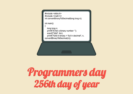 Flat poster for Programeers day which is celebrated on 256th day of year, in 2017 it will be 13rd September; computer with short code in C language Ilustração