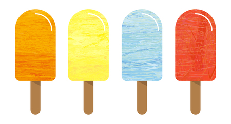 ice: Set of 4 ice cream with different colors - flavour (taste) variation, marble structure, irregular structure