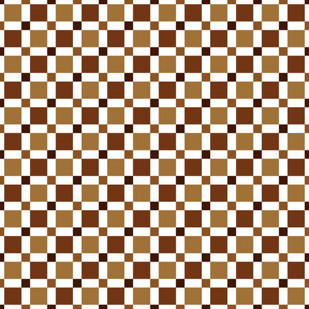 Seamless pattern made of colorful squares - shades of brown (chocolate) on white background, modern kid texture, imitation of tiled floor or wall Illustration