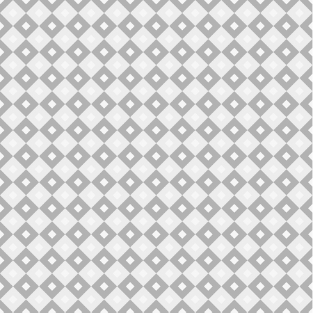 Seamless swatch - square or rhombus ornaments in diagonal way and muted shades of grey with white squares in center of each one, greyscale, monochrome