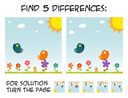 子供のゲームの写真の違いを見つける 5ステップ バイ ステップのソリューション。晴れた日の中に花と蝶画像 写真素材 - 83922214