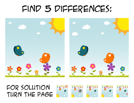 Child game - find 5 differences in pictures; with step by step solution; picture with butterflies and flowers during sunny day