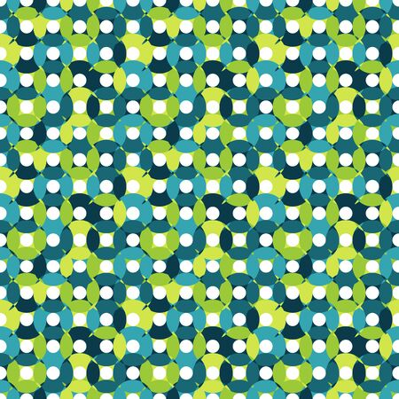 centers: Seamless pattern made of round shapes in different shades of blue and green with white centers, oval and round shapes,overlay CD illusiion