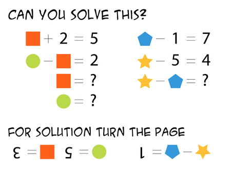 Mathematical riddle for children - find out what numbers do the colorful shapes represents, logical task, solve the equation. Illustration