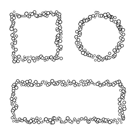 Collection of 3 isolated frames made of small circles, black square, round and rectangle border, isolated on white
