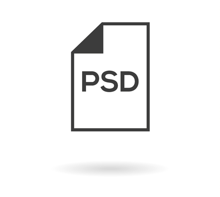 Simple greyscale icon with file and PSD text inside - can be used as button for download or upload .psd file, isolated on white with shadow Stock Vector - 85641143