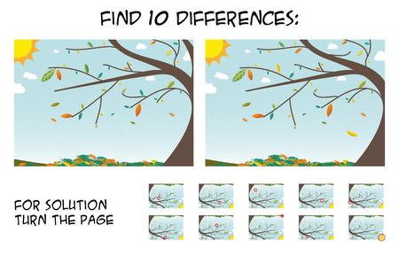 子供のゲームの写真の違いを見つける 5ステップ バイ ステップのソリューション。日当たりの良い日中; 秋の風景写真カラフルな葉 写真素材 - 86814933