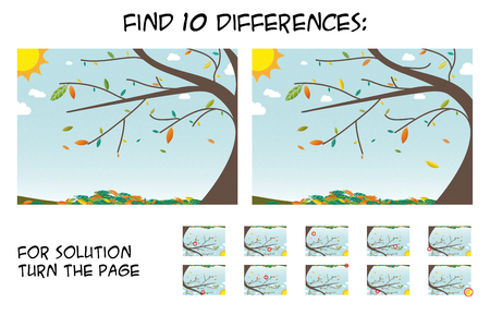 Child game - find 5 differences in pictures; with step by step solution; picture with autumn landscape during sunny day; colorful leaf Ilustração