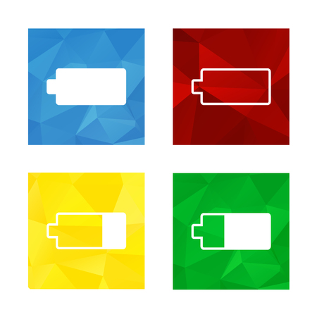 Colorful triangular low poly button in square shape with flat icon representing battery, blue for full, red for empty, green for almost full, yellow for almost empty Illustration