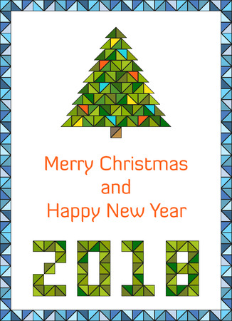 Modern and clean Merry Christmas and Happy New Year 2018 card design in vibrant colors and geometric style