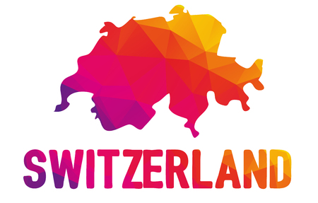 Low polygonal map of Swiss Confederation with sign Switzerland, both in warm colors of red, purple, orange and yellow; Schweizer, Suisse, Svizzer