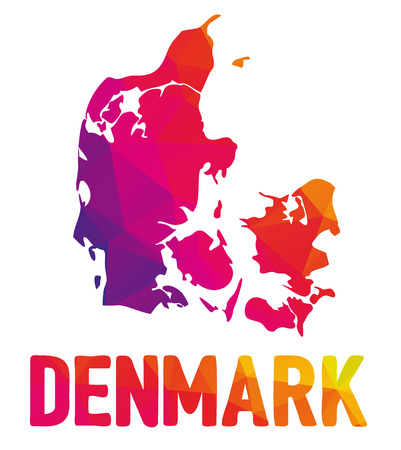 Low polygonal map of Kingdom of Denmark with sign Denmark, both in warm colors of red, purple, orange and yellow; Danmark, Scandinavia  イラスト・ベクター素材