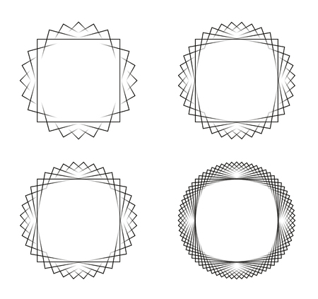 Collection of 4 black line spirograph abstract elements made from squares - 4 different geometric ornaments flower like, symmetry, isolated on white; colored with black to white to black color transition Ilustração