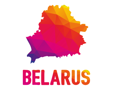 Low polygonal map of Republic of Belarus with sign Belarus (Eastern Europe country), both in warm colors of red, purple, orange and yellow; also known as Byelorussia or Belorussia