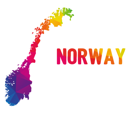 Low polygonal map of Norge with sign Norway (Kingdom of Norway - Kongeriket Norge), both in warm colors of red, purple, orange, yellow and green; country in North Europe in Scandinavia