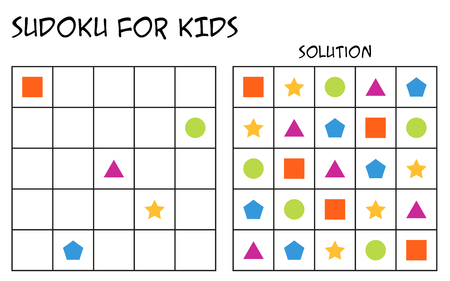 Sudoku for kids with solution, puzzle for children to complete each row or column with just one of each shapes, mental task, logical but easy challenge (version 2)  イラスト・ベクター素材
