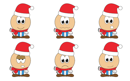 Set of 6 isolated cartoon Santa Claus emoticons - faces with red hat and scarf, christmas emotions - happy, sad, annoyed, surprised, angry, contented Ilustração