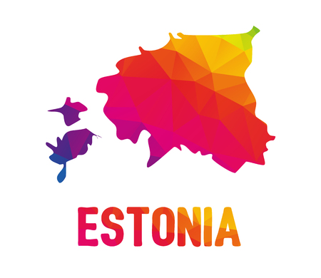 Low polygonal map of Republic of Estonia (Eesti Vabariik) with sign Estonia, both in warm colors of red, purple, orange and yellow; sovereign state in Eastern Europe