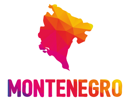 Low polygonal map of Montenegro (Montenegrin) with sign Montenegro, both in warm colors of red, purple, orange and yellow; sovereign state in Southeastern Europe