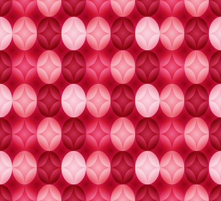 Seamless pattern made of oval abstract geometry shapes with inner starts in colors of shades of red, pink and magenta on dark pink background, Easter egg imitation