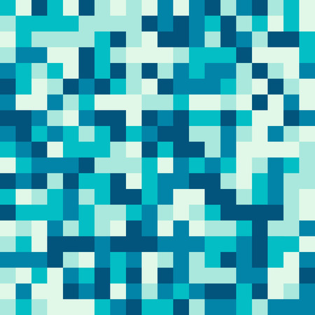 Seamless pattern made of blue and water square elements - pixel texture for water, ice, sky, or anything blue in retro 8bit games, also nice for clothes or fashion use, cool web background