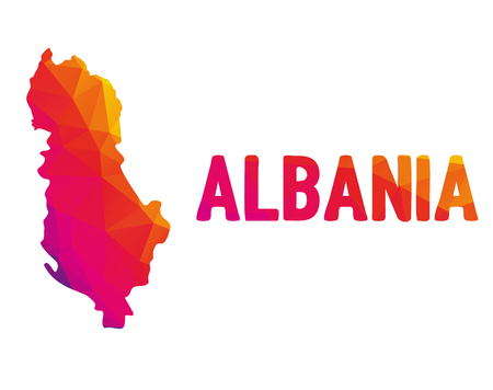 Low polygonal map of Republic of Albania (Republika e Shqipërisë) with sign Albania, both in warm colors of red, purple, orange and yellow; sovereign state in Southeastern Europe