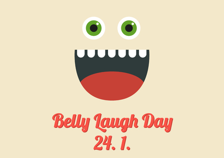 Poster for international special holiday named Belly Laugh Day - 24 january, big smiley face on tan background with matching text, other special holidays in my porftolio