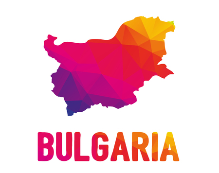 Low polygonal map of Republic of Bulgaria (Republika BÇŽlgariya) with sign Bulgaria, both in warm colors of red, purple, orange and yellow; sovereign state in Southeastern Europe  イラスト・ベクター素材