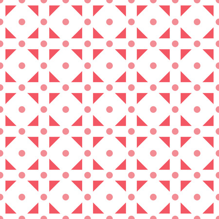 Seamless pattern made or pink polka dots and red (dark pink) triangles in square shape on white background