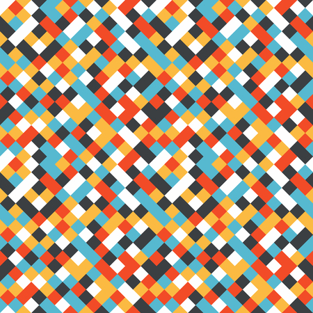 Seamless pattern made of colorful squares rotated by 90 degrees, endless mosaic texture made by yellow, red, dark and light blue and white, fashionable background
