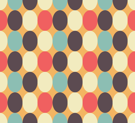 Seamless patter made of retro colored oval abstract geometry shapes in vintage colors of blue, tan, brown on orange background, Easter egg imitation