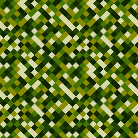 Seamless pattern made of colorful squares rotated by 90 degrees, endless mosaic texture made of green shades, fashionable background, great texture for 8bit games - grass, camo, etc